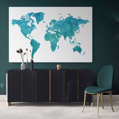 Modern Bright Teal Blue Water Colorfull World Map Canvas Print Large Colorful Kids Playroom Wall Art Decor For Home