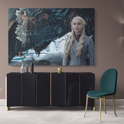 Daenerys Drogon Game of Thrones Movie Art Canvas with Frame / Rolled Gaming Zone Home Decor Wall Art Mural Hangings Gift Gamer Print Poster