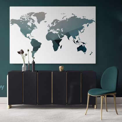 Abstract Large World Map Canvas Print World Map Wall Art Office Wall Decor Modern Wall Canvas Gift Print Wall Artwork Canvas For Home Wall Mural