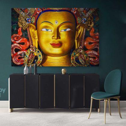 Eye of Lord Maitreya Buddha Modern Wall Art Canvas with Frame Poster Print Living Room Dining Modern Wall Hangings Mural Art Gift