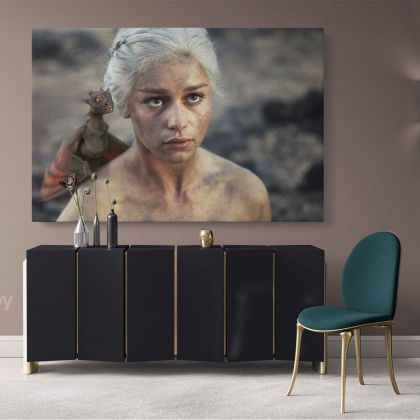 Game of Thrones Emilia Clarke Dragon Movie Art Canvas with Frame / Rolled Gaming Zone Home Decor Wall Art Mural Hangings Gift Print Poster