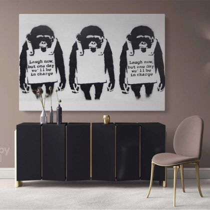 Banksy Monkey Laugh Now Street Arts Print in Canvas with Frame