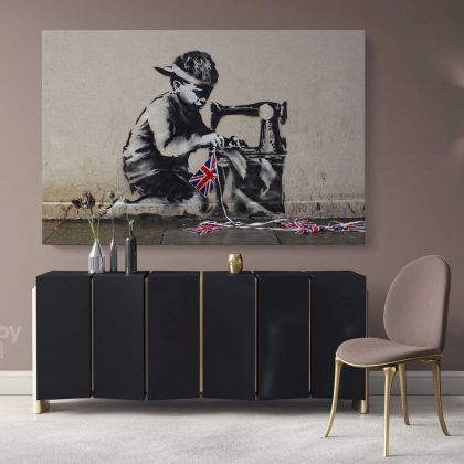 Banksy Style Canvas Graffiti Street Wall Arts Print in Canvas with Frame