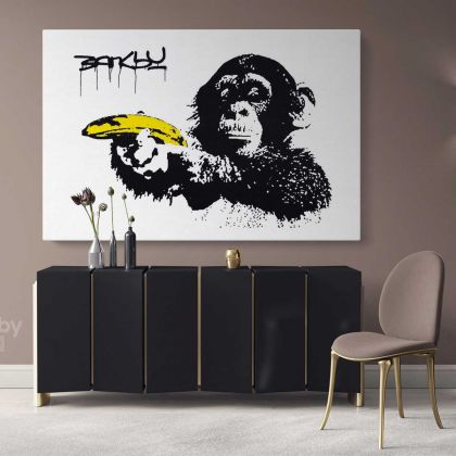 Monkey with Banana Banksy Graffiti Street Wall Arts Print in Framed Canvas
