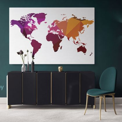 Modern Abstract World Map Canvas Print Bright Different Colors Wall Art Office Decor Modern Canvas Gift Print Wall Artwork For Home Wall Mural