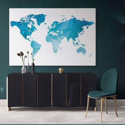 Modern Blue Water Color Large World Map Canvas Nursery Kids Playroom Wall Map Art Gift Office Living Room Home Decor For Wall Hangings