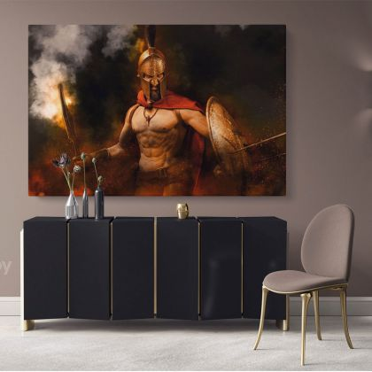 Spartan Movie Art Canvas with Frame, Rolled Canvas Wall Mural Hangings Gifts Home Decoration Movie Wall Artwork Canvas Spartan Warrior Battle