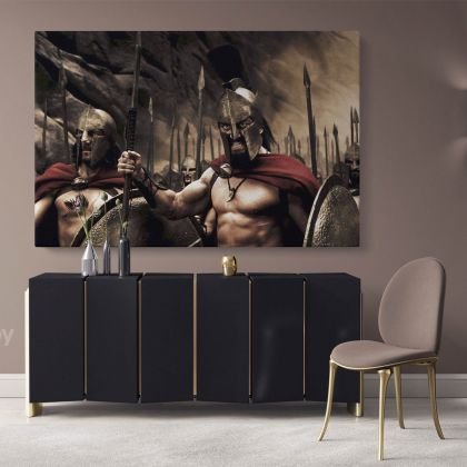 Spartan Warrior Battle Canvas with Frame, Rolled Canvas Wall Mural Hangings Gift Home Decoration Movie Wall Artwork Canvas Spartan Movie Art