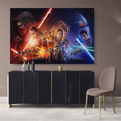 The Last Jedi Star Wars Collage Canvas Wall Art Print Poster Canvas with Frame Artwork Picture Home Decoration Wall Hangings Mural Gifts