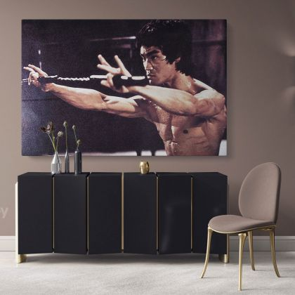 Bruce Lee Poster Martial Art Dragons Canvas with Frame Home Decoration Wall Mural Hangings Gift Wall Artwork Bruce Lee Print Poster Canvas