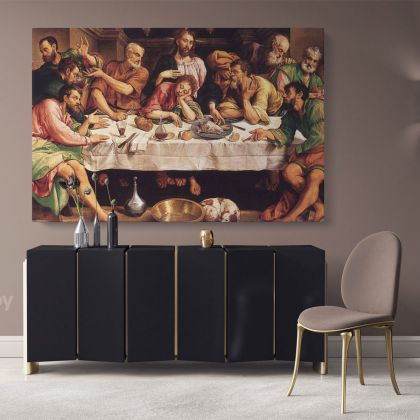 The Last Supper Paintings 8 Hand Painted by Famous Painters Artists Version by Jacopo da Ponte Bassano Wall Art on Canvas as Wall Decoration