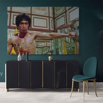 Bruce Lee Canvas Poster Martial Art Dragons Canvas with Frame Home Decoration Wall Mural Hangings Gift Wall Artwork Black and White Canvas