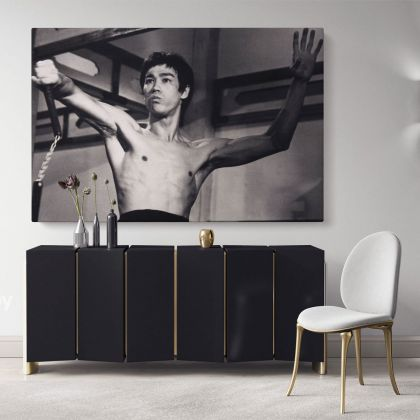 Bruce Lee Canvas Poster Martial Art Dragons Canvas with Frame Home Decoration Wall Mural Hangings Gift Wall Artworks Black and White Canvas
