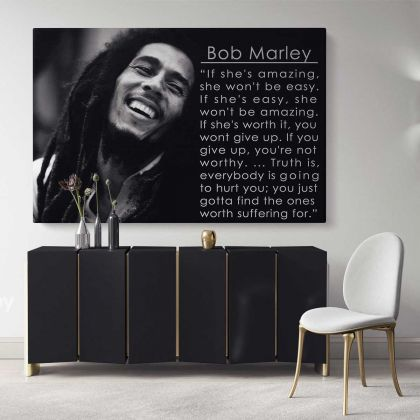 Bob Marley Positive Quotes Art Canvas Bob Marley Art Canvas Poster Printed Picture Wall Art Decoration Jamaican Singer Black & White Canvas