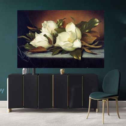 Giant White Magnolia Flower Artwork Print Poster Canvas Floral Wall Art Wall Hangings Home Decoration Living Room Wife Gifts Magnolia Flower