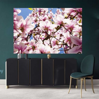 Pink Magnolia Flower Photo Print Poster Canvas Floral Wall Art Wall Hangings for Home Decoration Living Room Wife Gifts Magnolia Flower Photo
