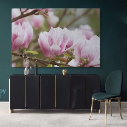 Pink Magnolia Flower Photo Print Poster Canvas Floral Wall Art Wall Hangings Home Decoration Living Room Wife Gifts Magnolia Flower Photo