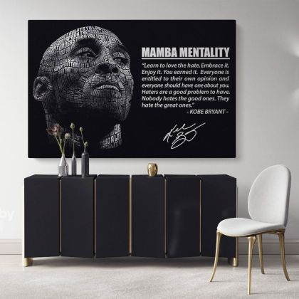 Mamba Mentality Motivational Quotes Kobe Bryant Basketball Player Photo Print Poster Canvas Home Decor Sports Wall Art Mural Hangings Gift