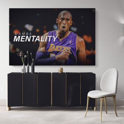Mamba Mentality Kobe Bryant Last Game Basketball Player Motivational Quotes Photo Print Poster Home Decor Sports Wall Art Mural Hanging Gift