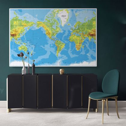 Official World Map Atlas Geography Political Canvas Print In Different Sizes Blue Ocean Bedroom Living Room For Canvas Home Gift Map Mural Map