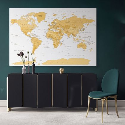 Modern Official World Map Atlas Geography Political Canvas Print In Different Sizes Bedroom Living Room For Canvas Home Decor Gift Map Mural Map