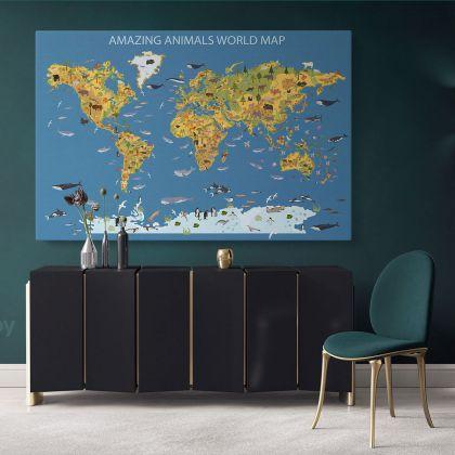 Amazing Animal World Map Canvas Kids Nursery World Animals Gift Living Room Home Decor For Wall Hanging