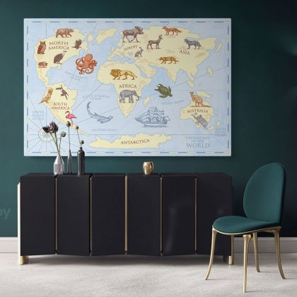 Nursery Vintage Map Of the World Kids Animal Maps Canvas Gift Home Decor For Wall Hanging