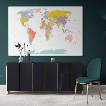Large Colorful World Map with Names in Different Size Wall Map Canvas Artwork Canvas Decor Home Gift Office Living Room For Wall Decor
