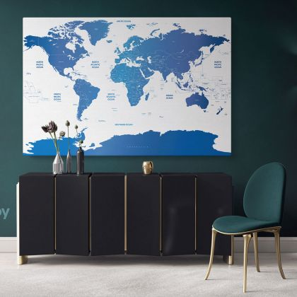 Blue Detailed Official World Map Atlas Geography Political Canvas Print In Different Sizes Bedroom Living Room Artwork For Home Decor