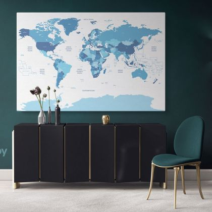 Blue Shades Detailed Official World Map Atlas Geography Political Canvas Print In Different Sizes Bedroom Living Room Artwork For Home Decor