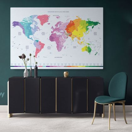 Worldwide Map of Local Time Zones Colored Political World Map With White Background World Map Wall Art World Map Large Map Canvas For Home Decor