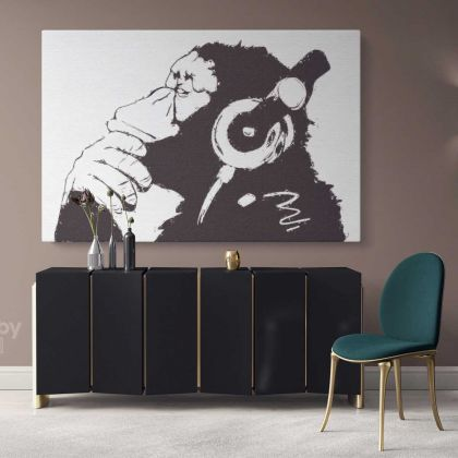 Large Banksy DJ Monkey Gorilla Chimp Canvas Wall Art Canvas with Frame Print Poster Living Room Bedroom Mural Gift Wall Hangings