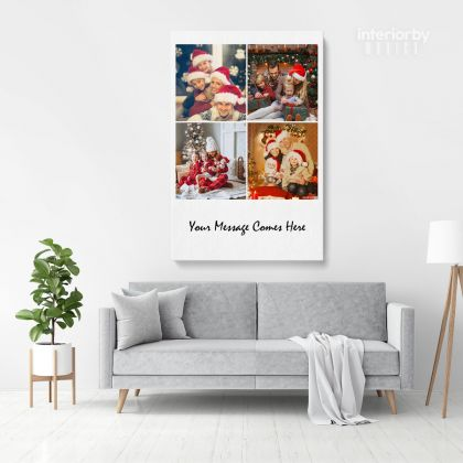 Christmas Gift Personalised 5 Images Collage Canvas Different Sizes Custom Photo