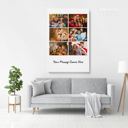 Christmas Gift Personalised 6 Images Collage Canvas Different Sizes Custom Photo For
