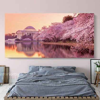 Panoramic Cherry Blossoms and Jefferson Memorial Monument of the Tidal Basin Panoramic Wall Art Canvas With Frame / Roll Wall Hangings Mural