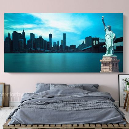 New York City Brooklyn Bridge Park Wall Art Panoramic Canvas With Frame / Roll Wall Hangings Mural Living Room Bedroom Mural Gift