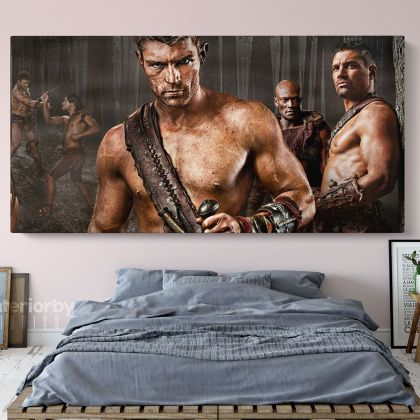 Panoramic Canvas Spartacus Movie Wall Arts Framed Print Poster Kids Gaming Zone
