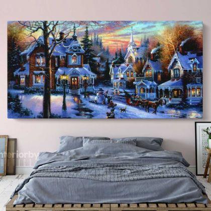 Panoramic Vintage Winter Christmas Village Scene Holiday Decor Framed Canvas