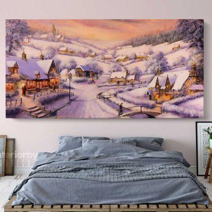 Winter Christmas Vintage Village Scene Holiday Decor Print Painting On Framed Canvas