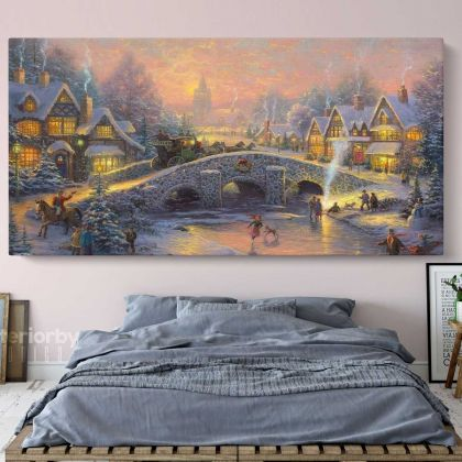 Winter Christmas Vintage Village Scene Holiday Decors On Framed Canvas