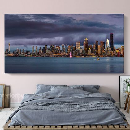 Panoramic Seattle Skyline Photo Print Poster Banner Canvas with Frame
