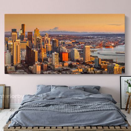 Panoramic Canvas Seattle Skyline Photo Print Poster Banner Canvas