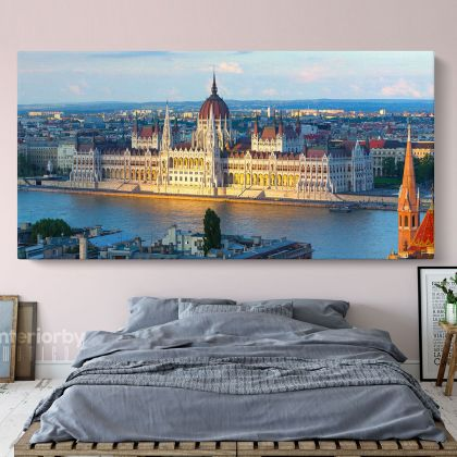 Hungarian Parliament Building Panoramic Canvas with Frame