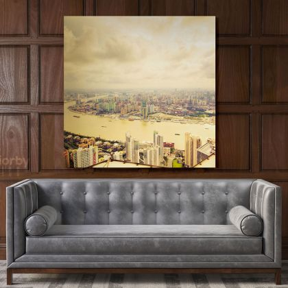 Jin Mao Tower Skyscraper Shanghai City Print Canvas with Frame
