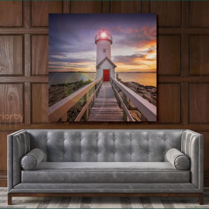 Square Photography City Lighthouse Poster Print Canvas with Frame