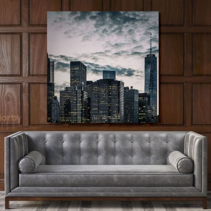 Modern Photography New York Sunset Poster Print Canvas with Frame