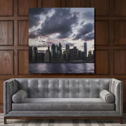 Manhattan Skyline New York City Poster Print Canvas with Frame
