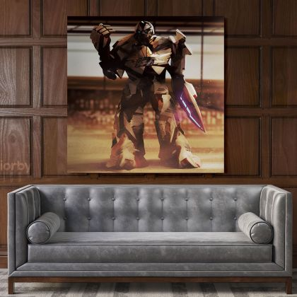 Transformer Robot Sword Kids Gamer Wall Art Modern Abstract Gaming Zone Poster Print Canvas with Frame Wall Hangings Mural Gift