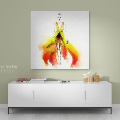Watercolor Painting Women Colorful Square Canvas with Frame/Roll Modern Print Poster Living Room Bedroom Mural Gift Wall Hangings