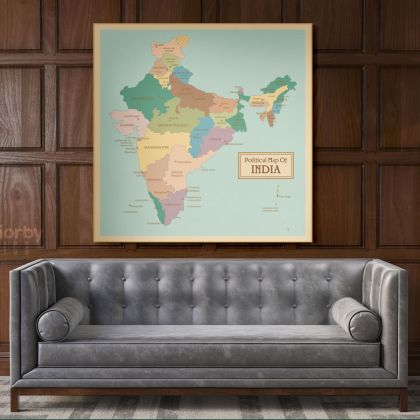 Vintage India Map Canvas with Frame Atlas India Wall Map Art Picture Poster Print For Home Decoration